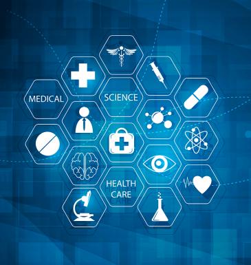 Imagem com ícones representando a área de saúde