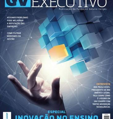 capa da revista GV Executivo com uma mão tocando um cubo abstrato